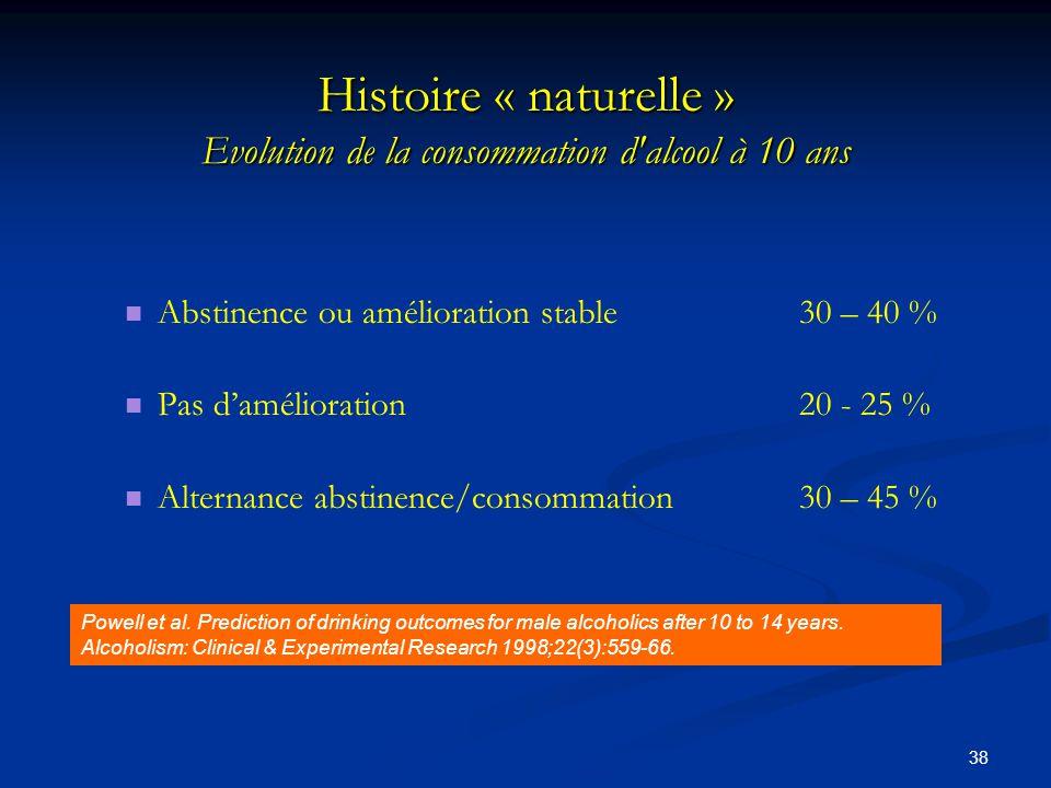 Histoire « naturelle » Evolution de la consommation d alcool à 10 ans