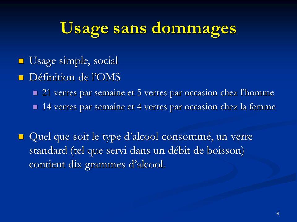 Usage sans dommages Usage simple, social Définition de l'OMS