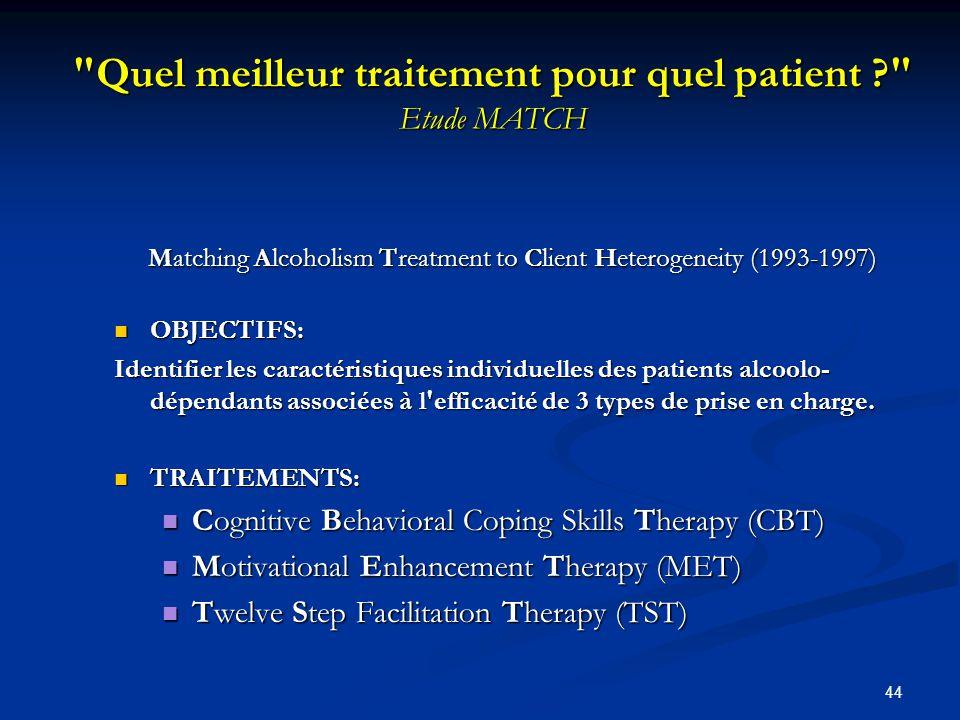 Quel meilleur traitement pour quel patient Etude MATCH