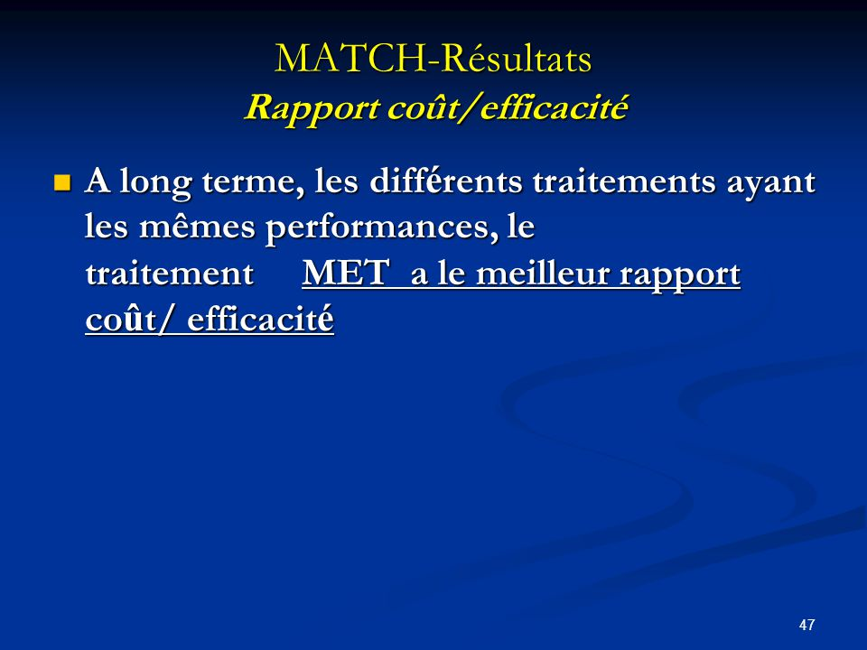 MATCH-Résultats Rapport coût/efficacité