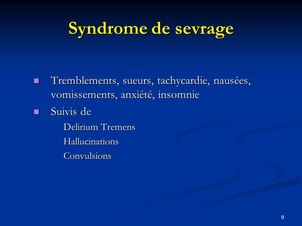 Syndrome de sevrage Tremblements, sueurs, tachycardie, nausées, vomissements, anxiété, insomnie. Suivis de.