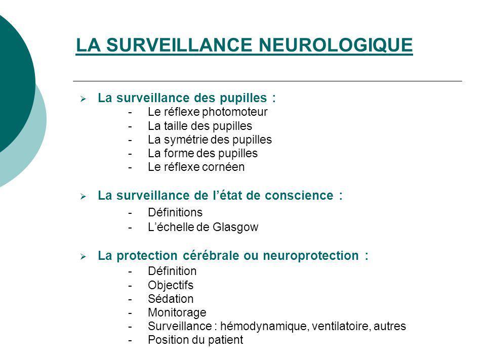 LA SURVEILLANCE NEUROLOGIQUE