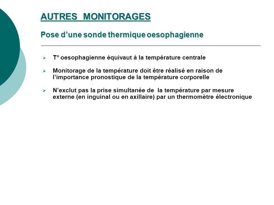 AUTRES MONITORAGES Pose d'une sonde thermique oesophagienne