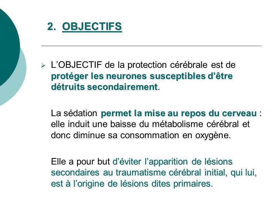 2. OBJECTIFS L'OBJECTIF de la protection cérébrale est de protéger les neurones susceptibles d'être détruits secondairement.