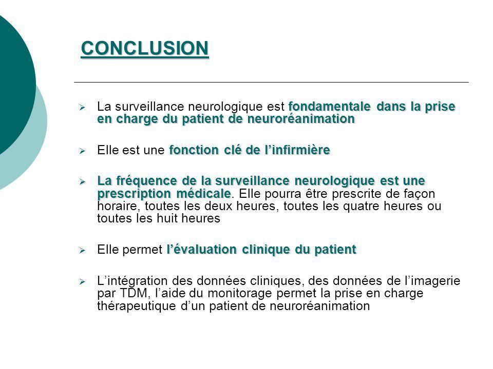 CONCLUSION La surveillance neurologique est fondamentale dans la prise en charge du patient de neuroréanimation.