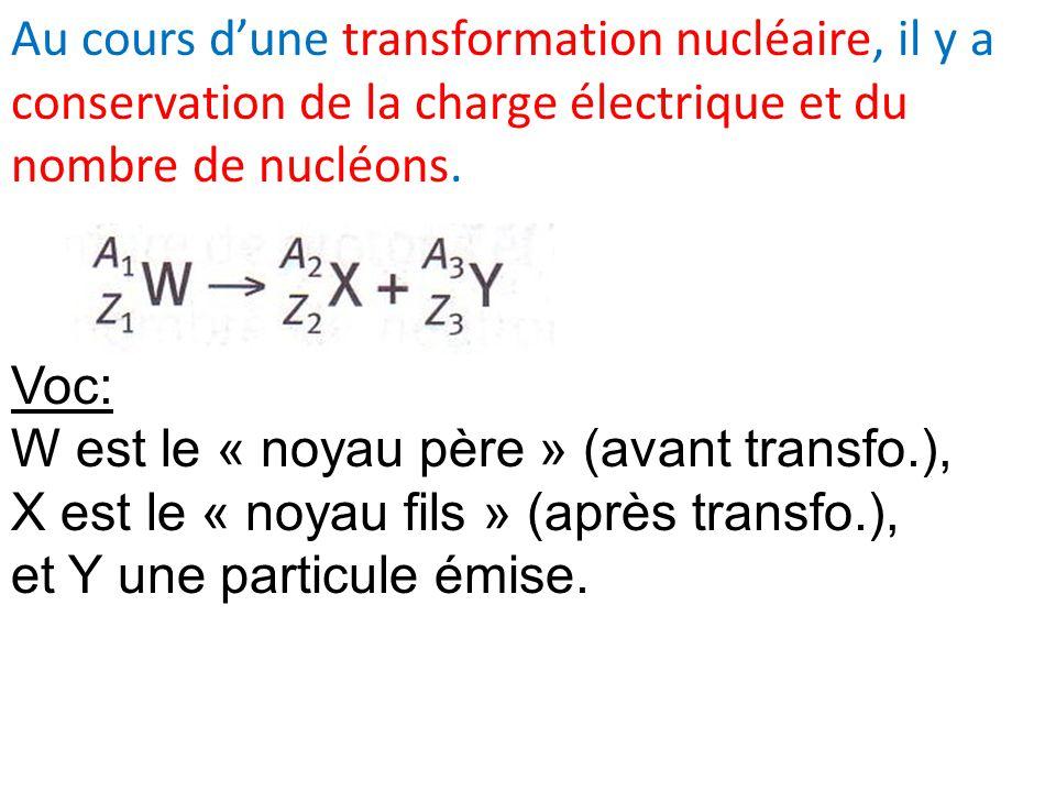 Au cours d'une transformation nucléaire, il y a conservation de la charge électrique et du nombre de nucléons.