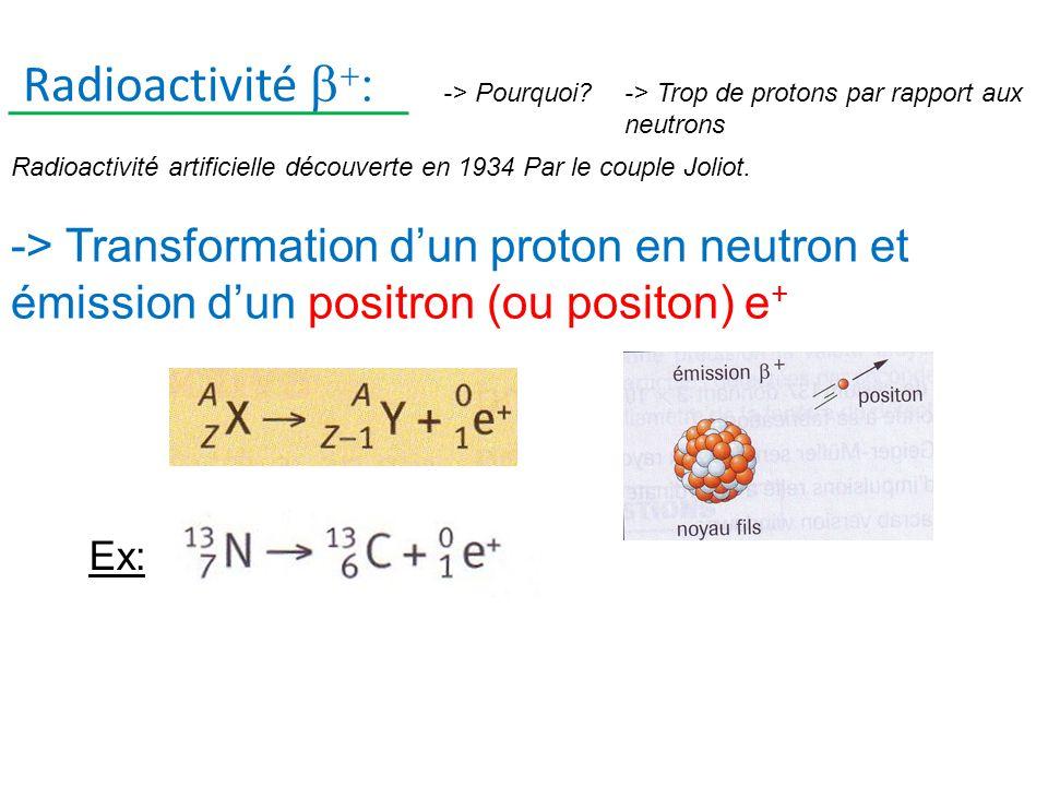Radioactivité b+: -> Pourquoi -> Trop de protons par rapport aux neutrons. Radioactivité artificielle découverte en 1934 Par le couple Joliot.