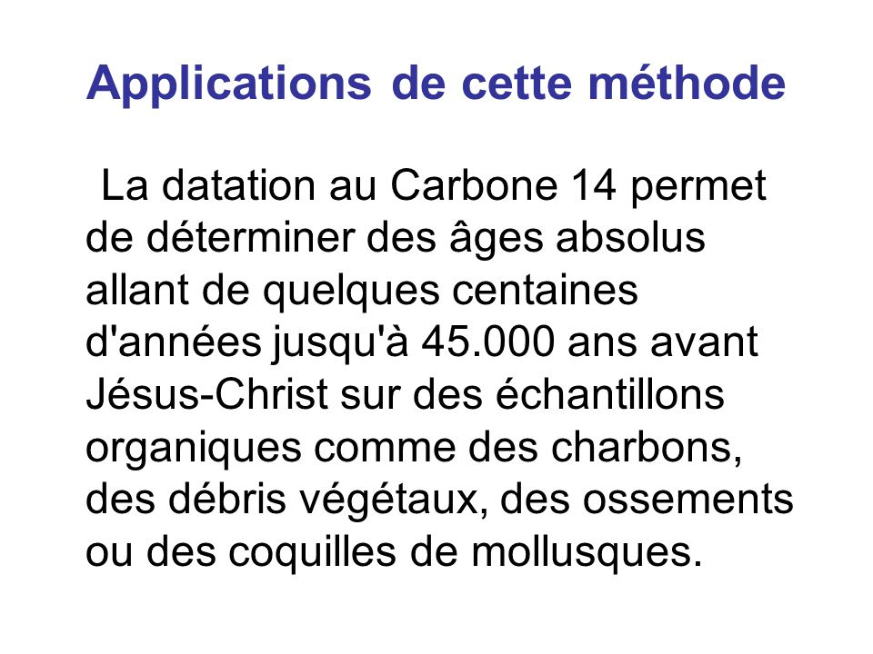 Applications de cette méthode