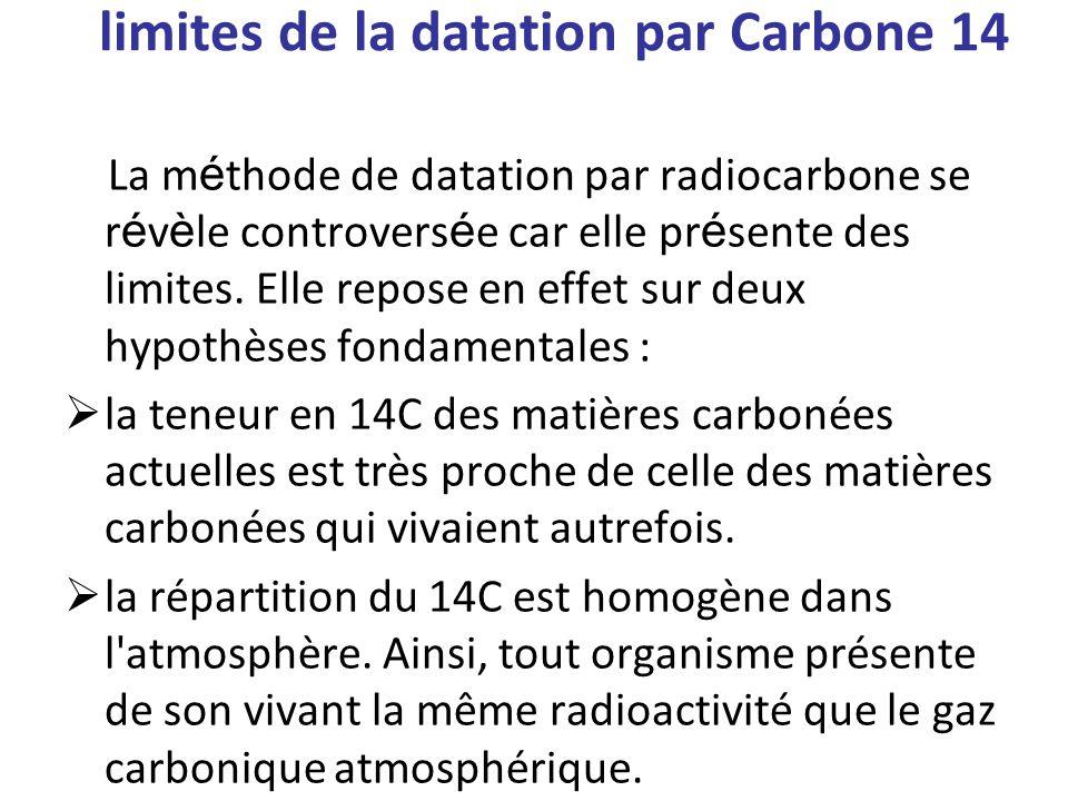 limites de la datation par Carbone 14