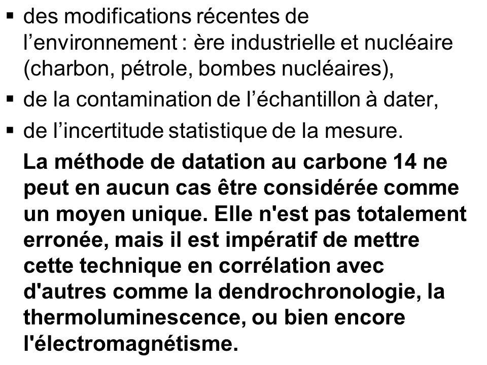 des modifications récentes de l'environnement : ère industrielle et nucléaire (charbon, pétrole, bombes nucléaires),