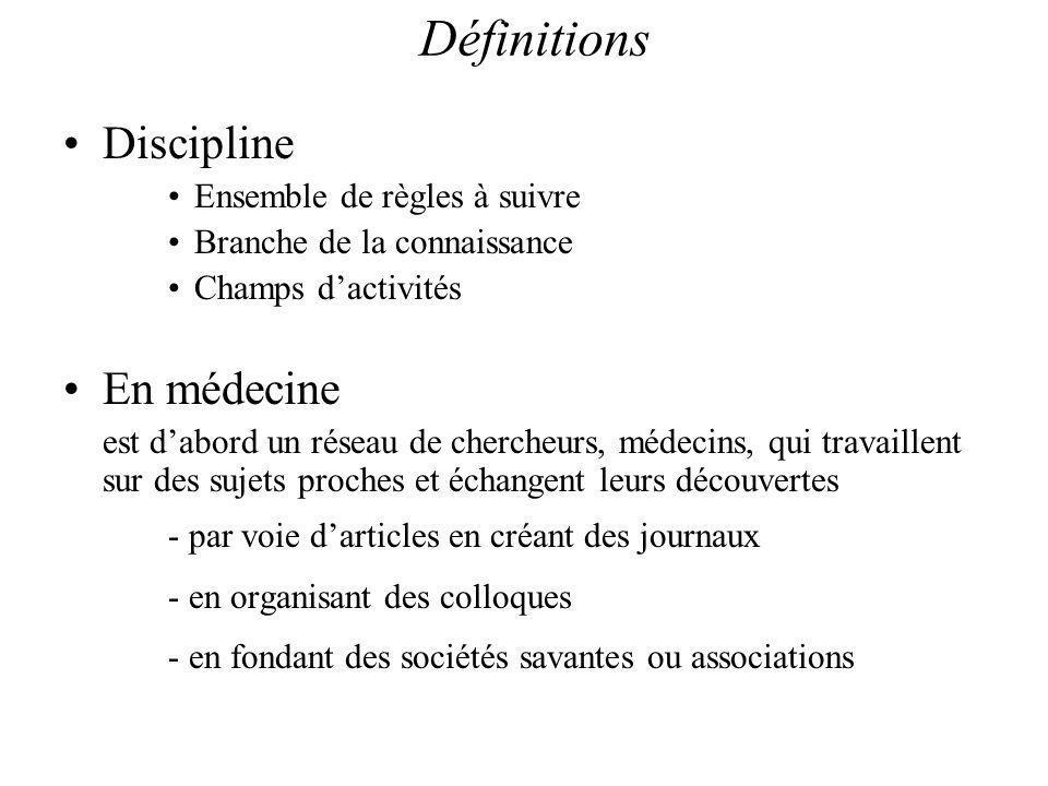 Définitions Discipline En médecine Ensemble de règles à suivre