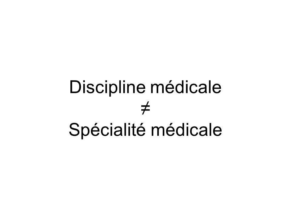 Discipline médicale ≠ Spécialité médicale