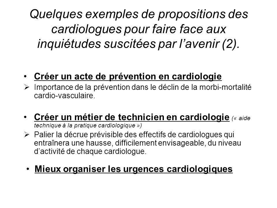 Quelques exemples de propositions des cardiologues pour faire face aux inquiétudes suscitées par l'avenir (2).
