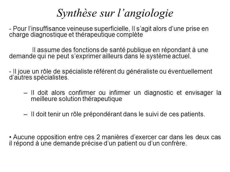 Synthèse sur l'angiologie