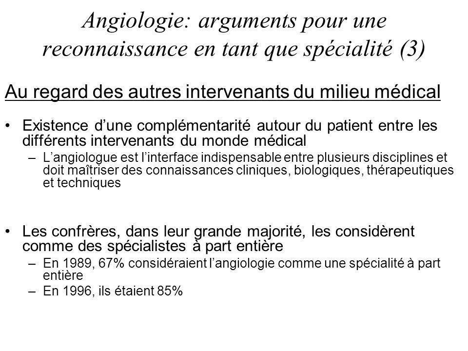 Angiologie: arguments pour une reconnaissance en tant que spécialité (3)