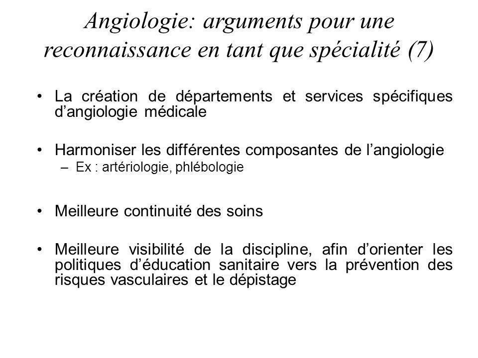 Angiologie: arguments pour une reconnaissance en tant que spécialité (7)