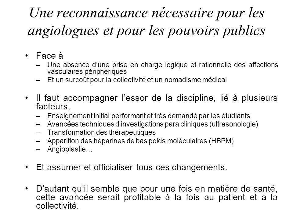 Une reconnaissance nécessaire pour les angiologues et pour les pouvoirs publics