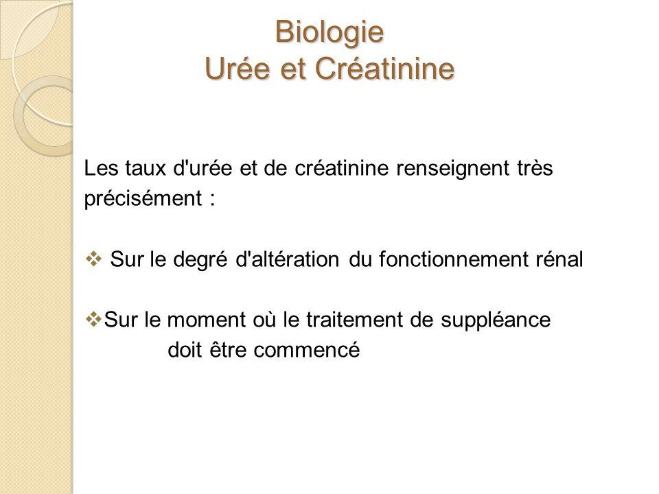 Biologie Urée et Créatinine