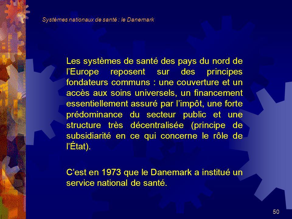 C'est en 1973 que le Danemark a institué un service national de santé.