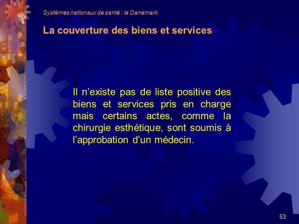 Systèmes nationaux de santé : le Danemark La couverture des biens et services