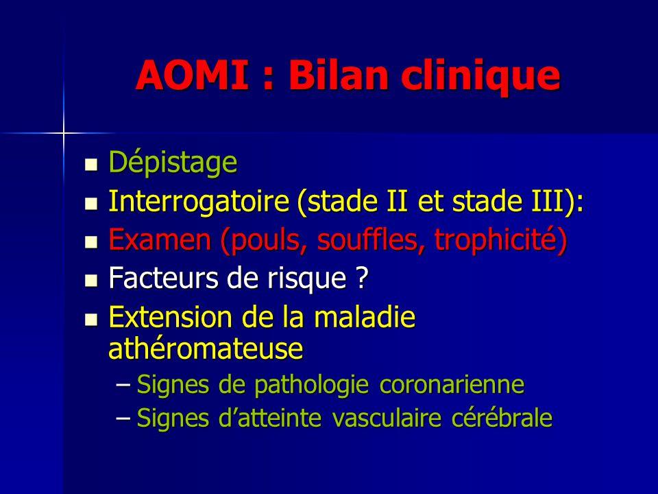 AOMI : Bilan clinique Dépistage