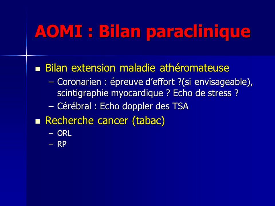 AOMI : Bilan paraclinique