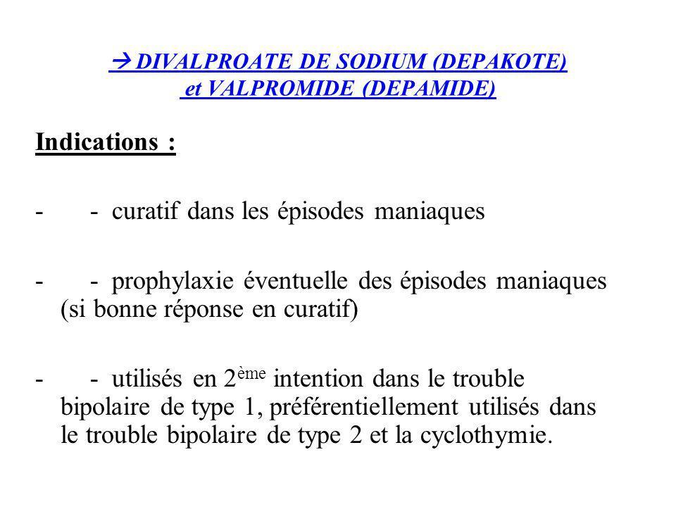  DIVALPROATE DE SODIUM (DEPAKOTE) et VALPROMIDE (DEPAMIDE)