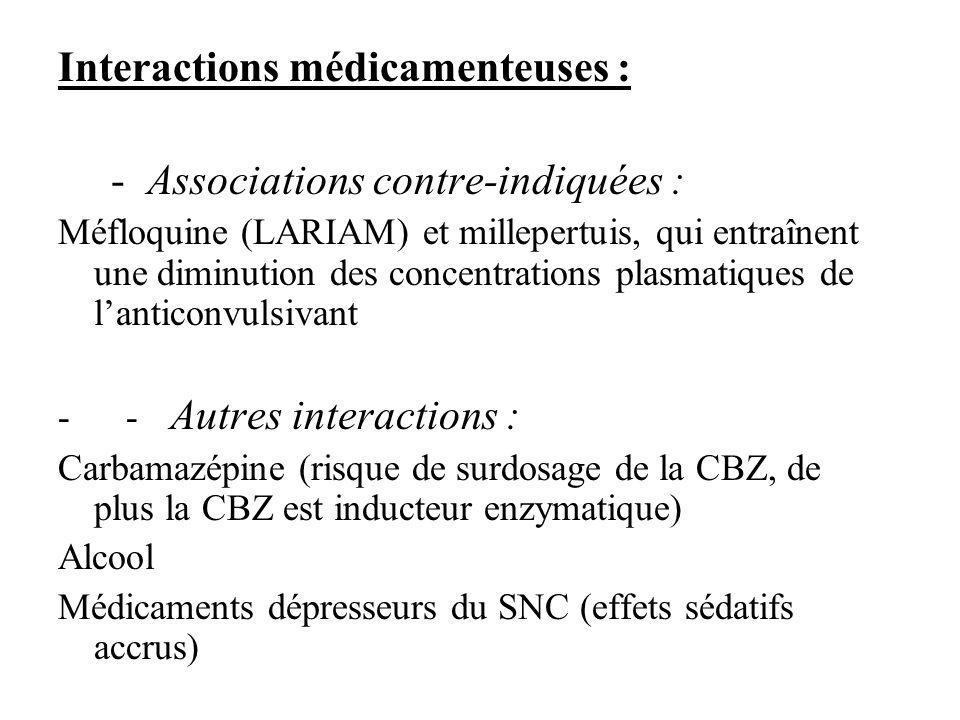 Interactions médicamenteuses : - Associations contre-indiquées :