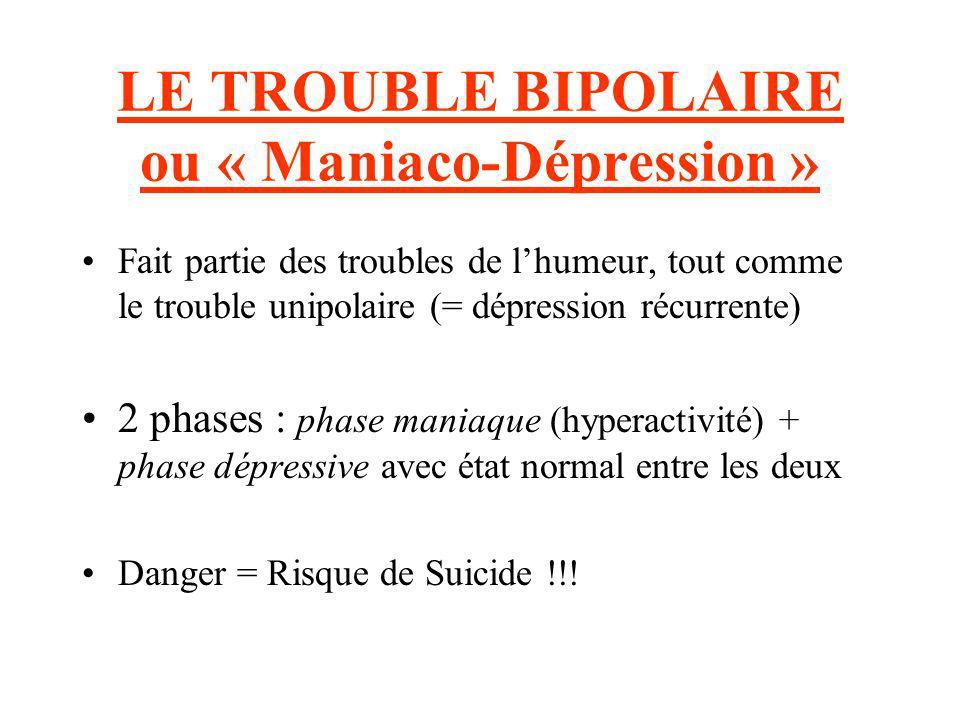 LE TROUBLE BIPOLAIRE ou « Maniaco-Dépression »
