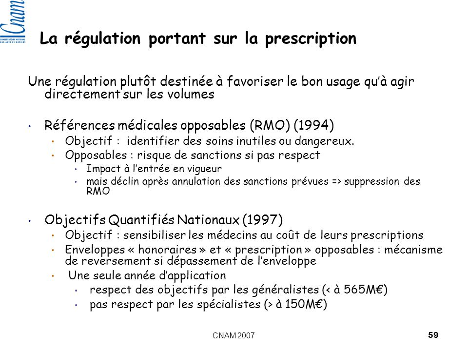 La régulation portant sur la prescription