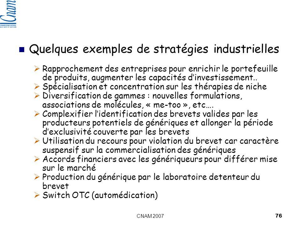 Quelques exemples de stratégies industrielles