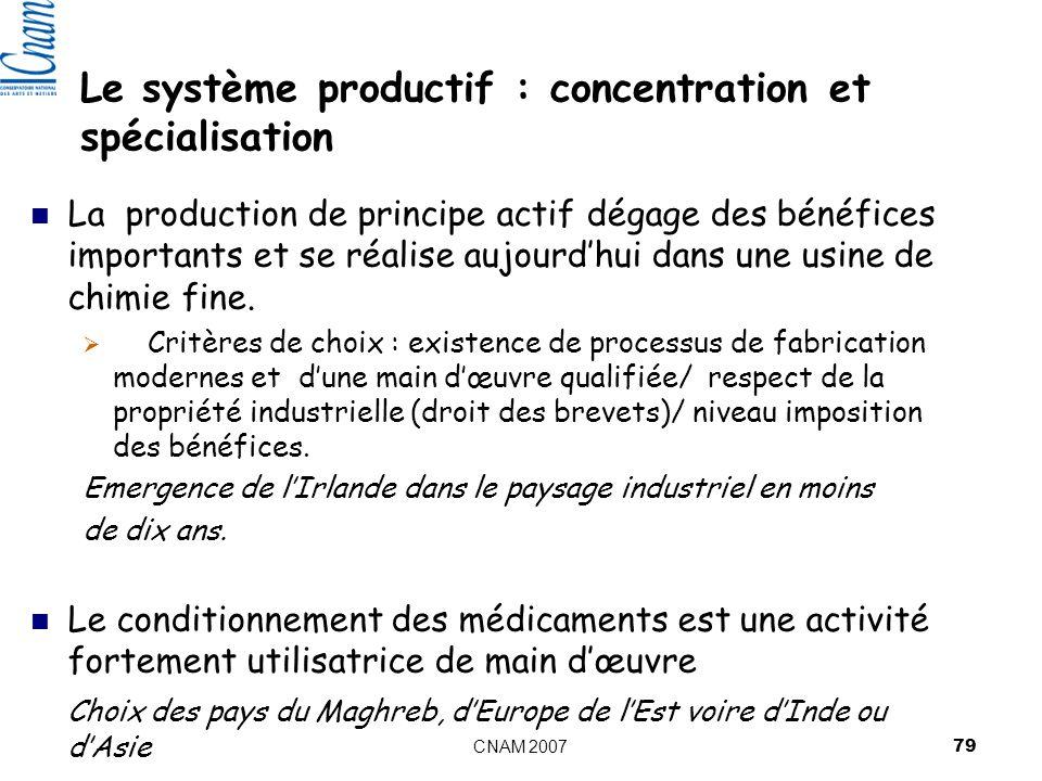 Le système productif : concentration et spécialisation