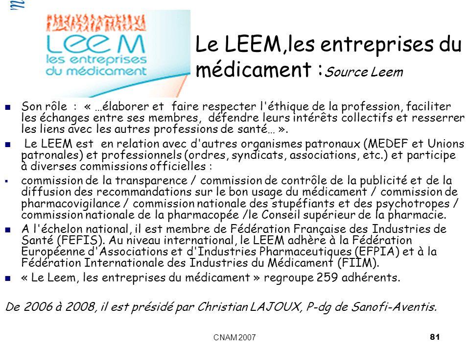 Le LEEM,les entreprises du médicament :Source Leem