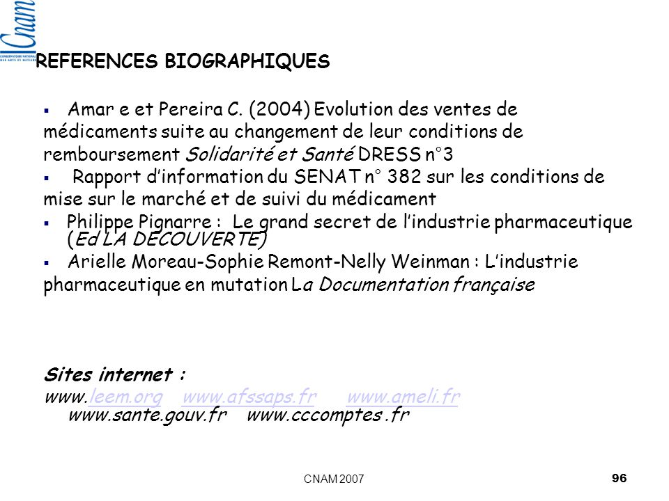 REFERENCES BIOGRAPHIQUES