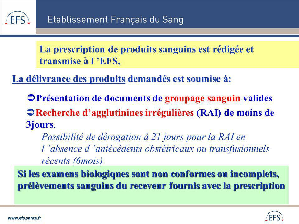 La prescription de produits sanguins est rédigée et transmise à l 'EFS,