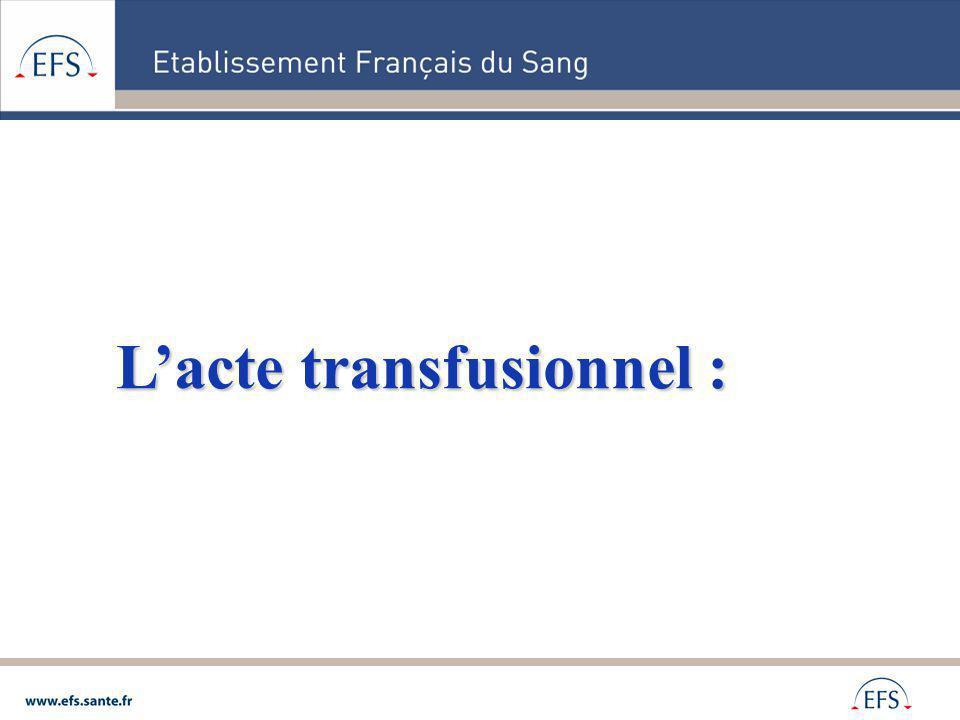 L'acte transfusionnel :