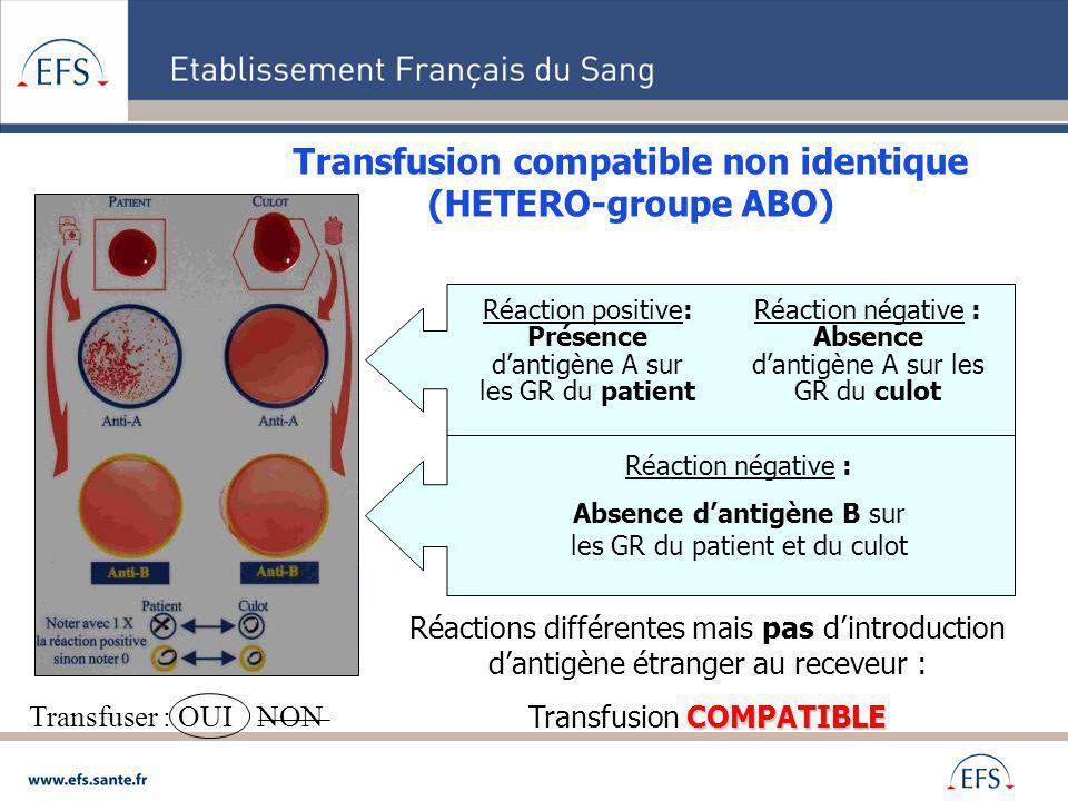 Transfusion compatible non identique (HETERO-groupe ABO)