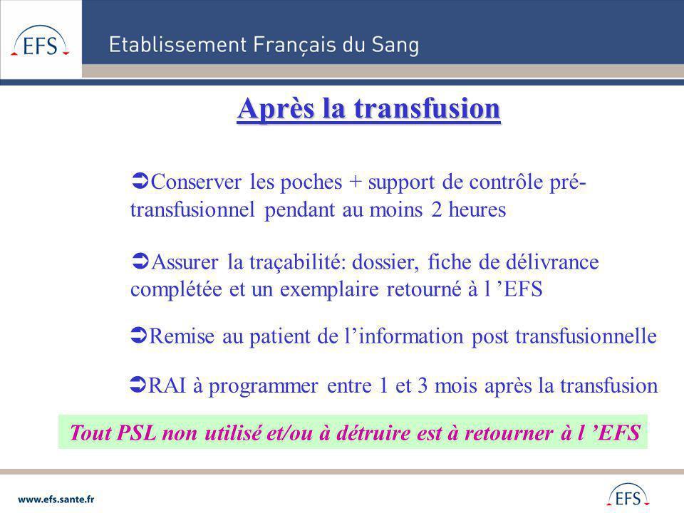 Après la transfusion Conserver les poches + support de contrôle pré-transfusionnel pendant au moins 2 heures.