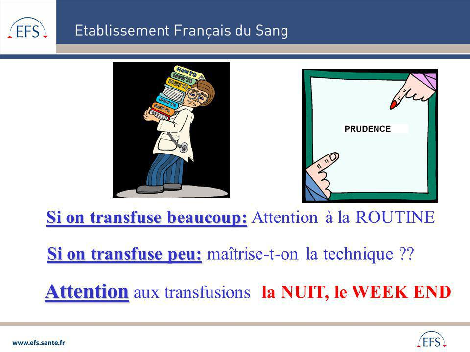 Attention aux transfusions la NUIT, le WEEK END