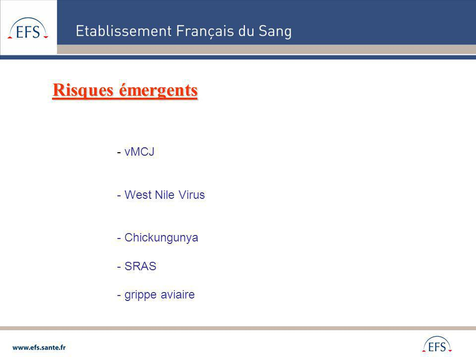 Risques émergents - vMCJ - West Nile Virus - Chickungunya - SRAS