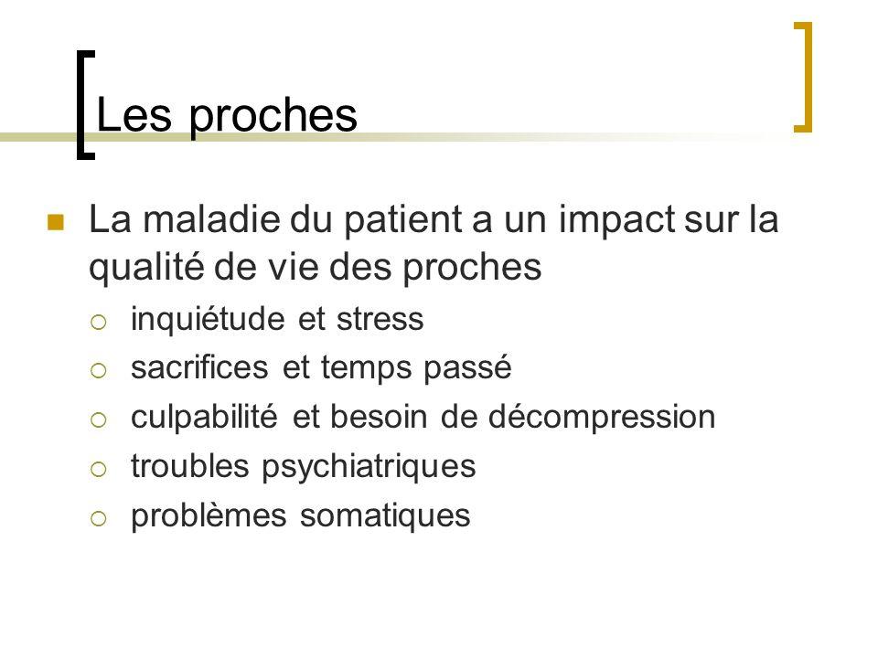 Les proches La maladie du patient a un impact sur la qualité de vie des proches. inquiétude et stress.