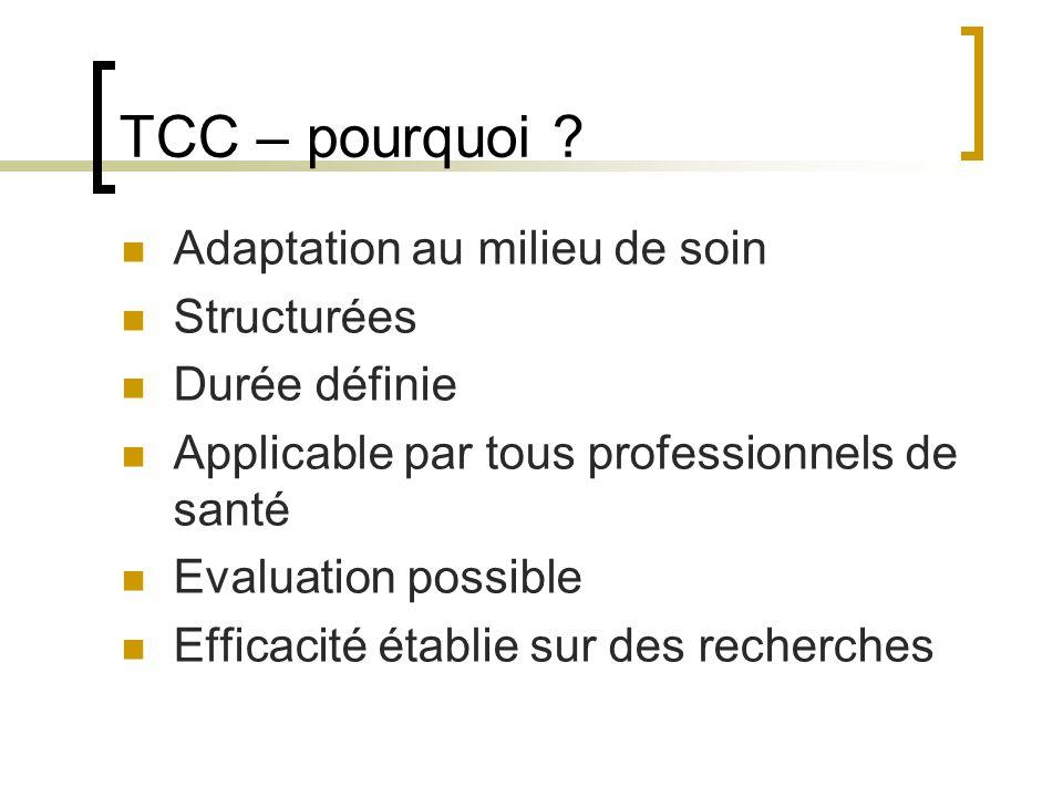 TCC – pourquoi Adaptation au milieu de soin Structurées