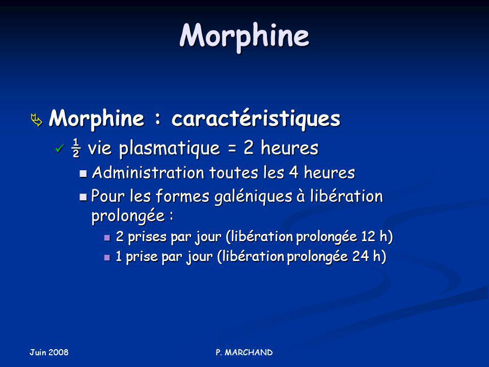 Morphine Morphine : caractéristiques ½ vie plasmatique = 2 heures