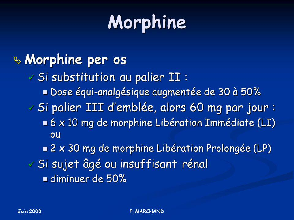 Morphine Morphine per os Si substitution au palier II :