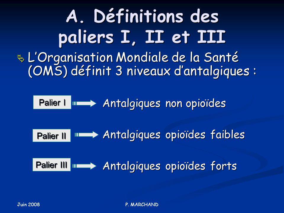A. Définitions des paliers I, II et III