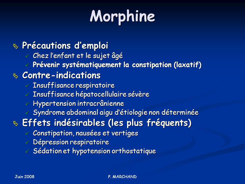 Morphine Précautions d'emploi Contre-indications