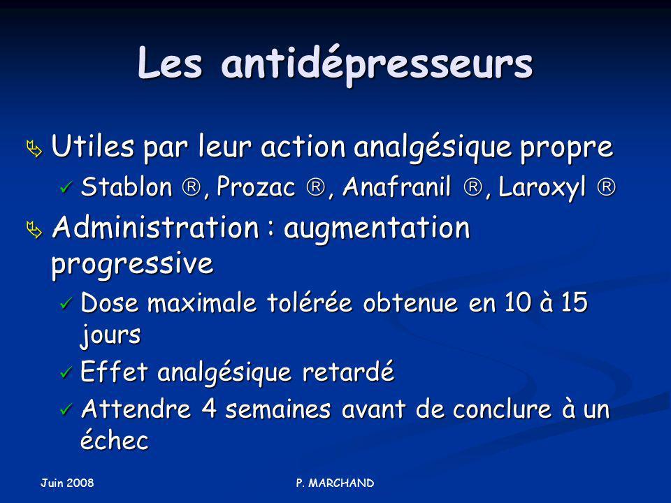 Les antidépresseurs Utiles par leur action analgésique propre
