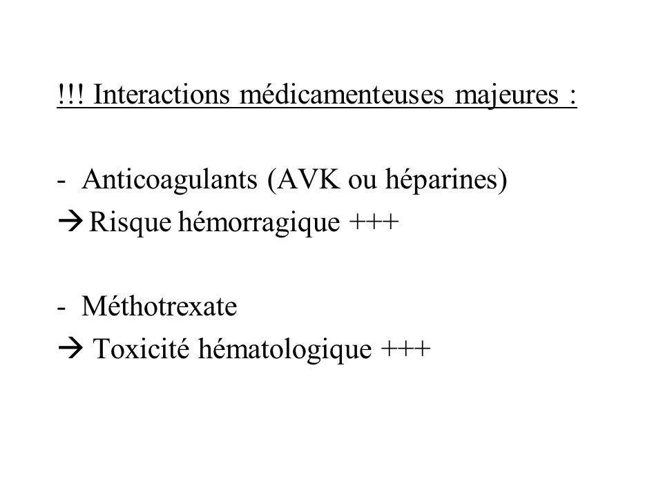 !!! Interactions médicamenteuses majeures :