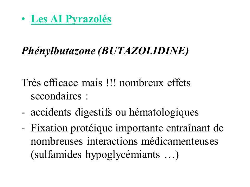 Les AI Pyrazolés Phénylbutazone (BUTAZOLIDINE) Très efficace mais !!! nombreux effets secondaires :