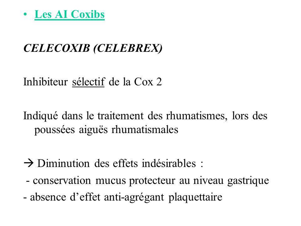 Les AI Coxibs CELECOXIB (CELEBREX) Inhibiteur sélectif de la Cox 2.
